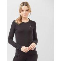 Odlo Women's Merino Crew Neck Long Sleeve Shirt - Blk/Blk, BLK/BLK