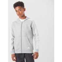 Adidas Kids' Essentials 3-Stripe Full-Zip Hoodie, Grey