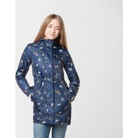 Joules Golightly Packable Dog Print Jacket, Navy