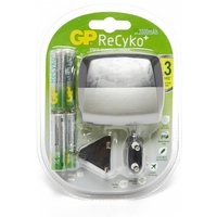 Gp Batteries ReCyko+ Travel Charger with Batteries, Silver