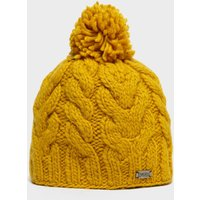 Kusan Women's Cable Bobble Beanie, Yellow