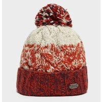 Kusan Women's Cable Bobble Beanie Hat, Orange