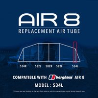 Eurohike Air 8 Tent Replacement Air Tube - 534l  Black