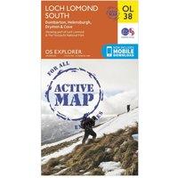 Ordnance Survey Explorer Active OL38 Loch Lomond South Map, Orange