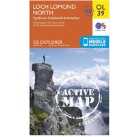 Ordnance Survey Active Explorer OL 39 Loch Lomond North Map, Orange/D