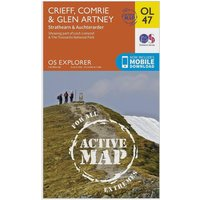 Ordnance Survey Active Explorer OL 47 Crieff, Comrie & Glen Artney Map, Orange/D