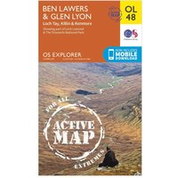 Ordnance Survey Explorer Active OL48 Ben Lawers & Glen Lyon Map With Digital Version - Orange, Orange