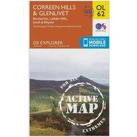 Ordnance Survey Explorer OL 62 Active D Coreen Hills & Glenlivet Map, Orange