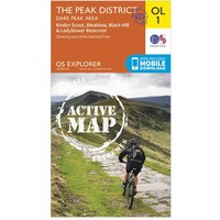 Ordnance Survey Explorer Active OL1 The Peak District - Dark Peak Area Map, Orange