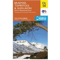 Ordnance Survey Explorer OL 58 Braemar, Tomintoul & Glen Avon Map, Orange