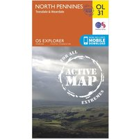 Ordnance Survey Explorer Active OL 31 North Pennines - Teesdale & Weardale Map, Orange