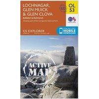 Ordnance Survey Explorer Active OL 53 Lochnagar, Glen Muick & Glen Clova Map, Orange