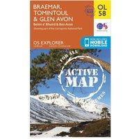 Ordnance Survey Explorer Active OL 58 Braemar, Tomintoul & Glen Avon Map, Orange