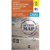 Ordnance Survey Explorer Active OL35 North Pembrokeshire Map, Orange