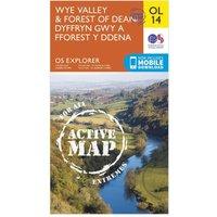 Ordnance Survey Explorer Active OL 14 Wye Valley & Forest of Dean Map, Orange/D