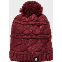 The North Face Womens Tri Cable Pom Beanie, Red
