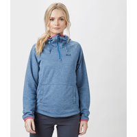 Jack Wolfskin Womens Tongari Fleece Hoodie, Mid Blue
