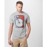 Brakeburn Mens Bike Poster T-Shirt, Grey