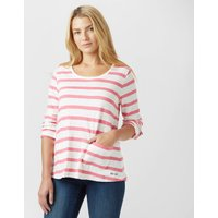 Weird Fish Womens Bollywood Stripe Long Sleeve T-Shirt, White/Pink