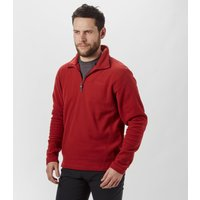 Brasher Mens Bleaberry Half Zip Fleece, Red
