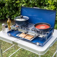 Campingaz Elite Camping Chef Double Burner And Grill - Blue/Chef, BLUE/CHEF
