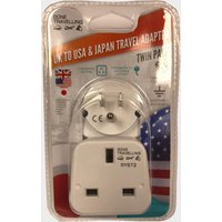 Boyz Toys 2pk Travel Adaptor - UK to USA & Japan, WHITE/AS