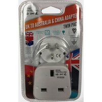 Boyz Toys 2Pk Travel Adaptor - Uk To Australia & China - White/Austra, WHITE/AUSTRA