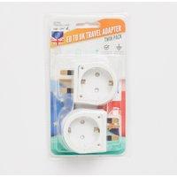 Boyz Toys Twin Pack Plug Adaptor Eu To Uk - White/Adapto, White/ADAPTO