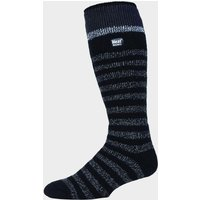 Heat Holders Men's Stripe Ski Sock, Black/BLACK