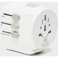Design Go Worldwide Travel Adaptor + - White/Usb, White/USB