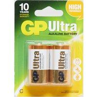 GP Batteries Ultra Batteries C 2 Pack, Yellow