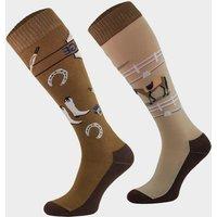 Comodo Adults Novelty Fun Socks Dressage  Brown