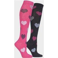 STORM BLOC EQuestrian Kids Hearts Socks (2 Pack), Pink