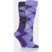 Storm Bloc Women's Midweight Argyle Lingfield 2 Pack Socks - Purple, Purple