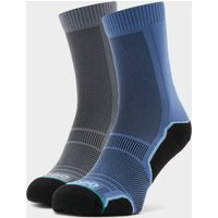 1000 MILE Men's Trek Socks 2 Pack, Grey/Blue