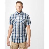 Brakeburn Mens Checked Short-sleeve Shirt  Navy/white