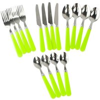 HI-GEAR 16 Piece Cutlery Set, LIME/SET