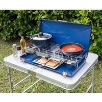 Campingaz Elite Camping Chef Double Burner and Grill, BLUE/BLUE