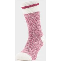 Heat Holders Ladies Cream Block Twist Socks, BERRY/WMNS