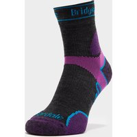 Bridgedale Women's Lightweight Merino Performance ¾ Crew Socks, Black/Purple