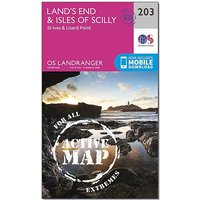 Ordnance Survey Landranger Active 203 Land's End, Isles of Scilly, St Ives & Lizard Point Map With Digital Version, D/D