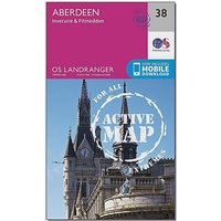 Ordnance Survey Landranger Active 38 Aberdeen, Inverurie & Pitmedden Map With Digital Version, D/D