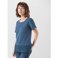 ONE EARTH OE W TOP EMB HEM, NVY/NVY