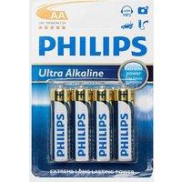 Phillips Ultra Alkaline AA LR6 B4 Batteries 4 Pack, Blue