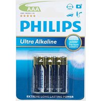 Phillips Ultra Alkaline AAA LR03 Batteries 4 Pack, blue