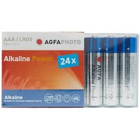 AGFA Alkaline Power AAA LR03 Batteries 24 Pack, SLIVER/BLUE