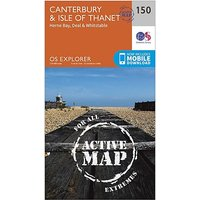 Ordnance Survey Explorer Active 150 Canterbury and The Isle Of Thanet Map With Digital Version - D/D, D/D
