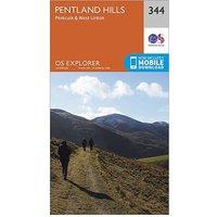 Ordnance Survey Explorer 344 Pentland Hills Map With Digital Version, D/D