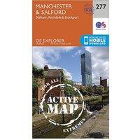 Ordnance Survey Explorer Active 277 Manchester and Salford Map With Digital Version - D/D, D/D