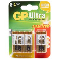 GP BATTERIES Ultra Alkaline AAA Batteries 8+4 Pack, 8+4/8+4